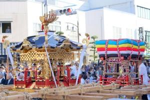 伊万里トンテントン祭り2017 井川歯科広報撮影 5 左白神輿 右団車